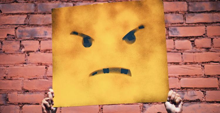 an angry cartoon face