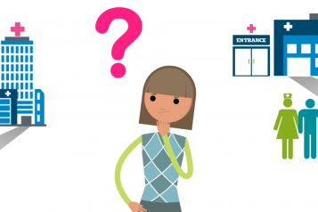 a preview screenshot of the Healthwatch Lambeth video  - a girl standing in the center, with a question mark above her head