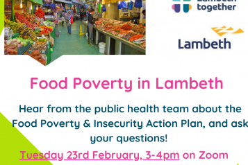flyer for Lambeth food poverty webinar