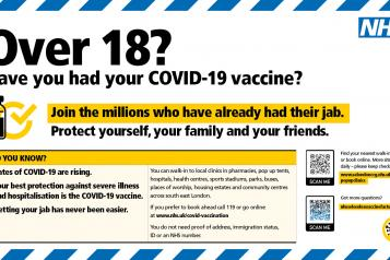 SEL vaccine advert for 18+ adults