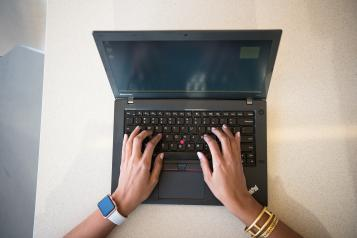 a person using a laptop