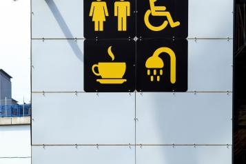 symbols of toilet, cafe, information point and other details