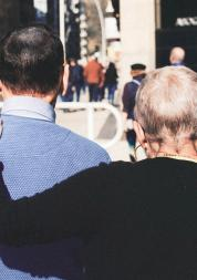 two people walking together