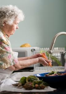 a person washing up dishes