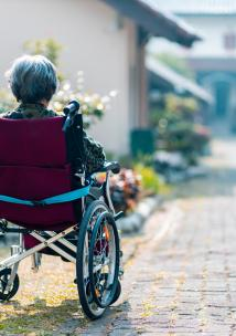an older person sitting in a wheelchair